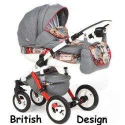BRITISH DESING RED GREY - Детская коляска Adamex Barletta World 2 в 1