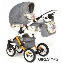 GIRLS YELLOW-GREY - Коляска Adamex Barletta World 3 в 1