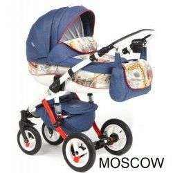 MOSCOW RED-BLUE - Коляска Adamex Barletta World 3 в 1