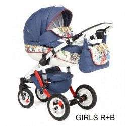 GIRLS RED-BLUE - Детская коляска Adamex Barletta World 2 в 1