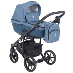 EM-208 кожа синяя+джинс - Детская коляска Adamex Emilio 3 в 1