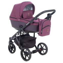 EM-227 кожа бордовая+бордовый - Детская коляска Adamex Emilio 3 в 1