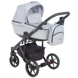 EM-257 кожа св.серая+св.серый - Детская коляска Adamex Emilio 3 в 1
