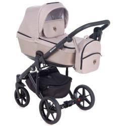 EM-276 кожа бежевый металлик+серый - Детская коляска Adamex Emilio 3 в 1