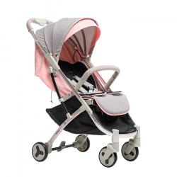 Серо-розовый - Детская прогулочная коляска Farfello S600