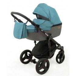 7 Бирюза лен Серый лен - Детская коляска RAY Corsa 3 в 1