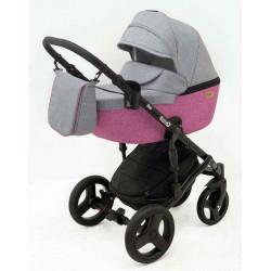 10 Серый лен Малиновый лен - Детская коляска RAY Corsa 3 в 1
